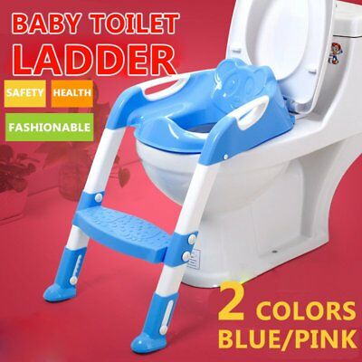 Kids Potty Training Seat with Step Stool Ladder for Child Toddler Toilet Chair B
