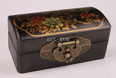 Black Leather Flower Ornament Jewelry Gift Box Collectable  Decoration