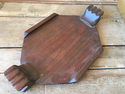 Claw Dark Wood Woodware Wooden Serving Tray Heavy Hand Made Folk Art Hand HELP