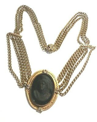 Antique Victorian Brass Festoon Mourning Jet Black Glass Cameo Necklace