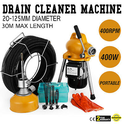 """3/4"""" - 5""""Ø Pipe Drain Cleaner Machine Cleaning Max Length 99ft Bathtub Toilet"""