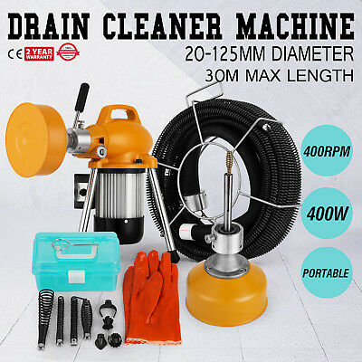 """3/4"""" - 5""""Ø Pipe Drain Cleaner Machine Cleaning Max Length 99ft Snake Sewer"""