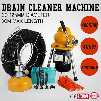 """3/4"""" - 5"""" Ø Pipe Drain Cleaner Machine Cleaning Flexible Powerful Sewer"""