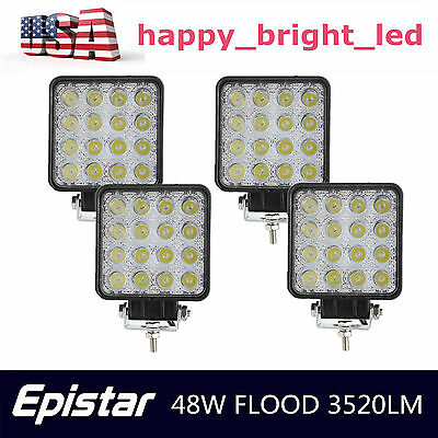 4X 48W Square Flood Beam LED Work Light Off-road ATV SUV Lamp Truck Jeep Boat