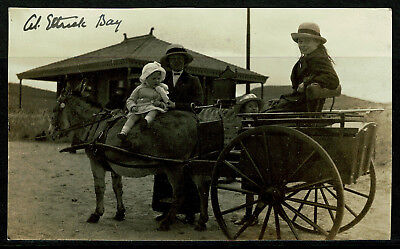 Real Photo Private Postcard - Donkey Cart at Ettrick Bay - Rothesay Isle of Bute