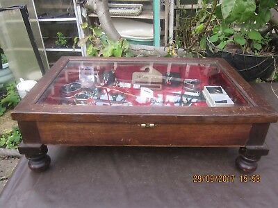 Vintage Antique Large Glass Table Top Wooden Display Cabinet With Jewelry