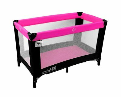 iSafe Rest & Play Luxury Travel Cot/Playpen - Raspberry (Black/Pink) 120 cm x 60
