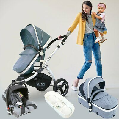 iSafe 3 in 1 Pram System - Grey Pram Travel System + Carseat