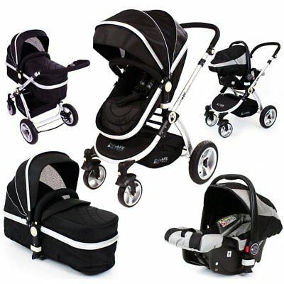 iSafe Baby Pram System 3 in 1 Complete With Carseat - Black