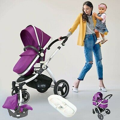 iSafe 3 in 1 Pram System - Plum (Purple) Travel System + Carseat - FAST & FREE!