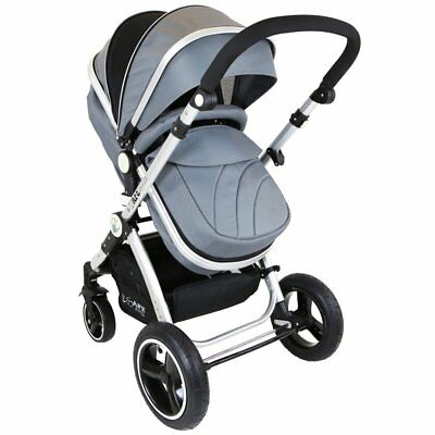 iSafe Baby Pram System 2 in 1 Complete - Grey (Grey) Complete With Raincover
