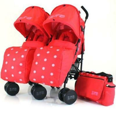 Zeta Twin Pushchair Complete Package (Red Dots)