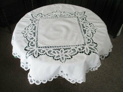 "ROUND TABLECLOTH-HAND EMBROIDERY & TAPE LACE - 34"" dia - WHITE"