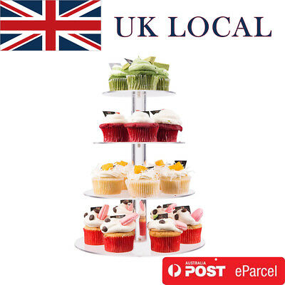 4 Tier Clear Acrylic Round Cupcake Stand Wedding Party Cake Display Tower