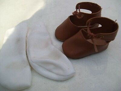 Alte Puppenkleidung Schuhe Vintage Brown Laced Shoes Socks 45 cm Doll 7 cm