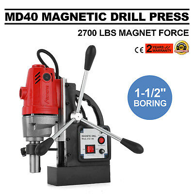 """1100W MD40 Magnetic Drill Press 1-1/2"""" Boring 2700 LBS Magnet Force High-Speed"""