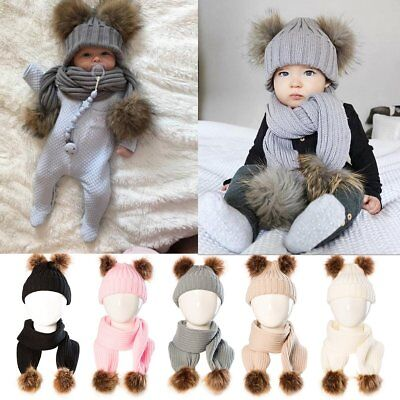 Cute Toddler Kids Girl&Boy Baby Winter Warm Crochet Knit Hat Beanie Cap + Scarf