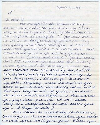 The Who Keith Moon 1966 Letter From A USA Fan