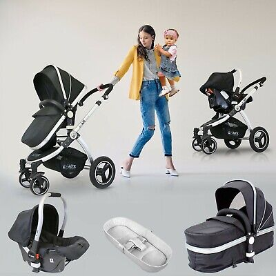 iSafe 3 in 1 - Black (With Car Seat) Travel System Pram Options