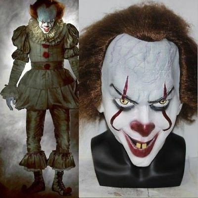 AU Hot Stephen King's It Mask Pennywise Clown Halloween Costume Cosplay Wig Mask