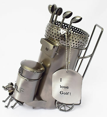 Novelty Metal Wine Bottle Holder Golf Caddy with Dog Clubs Golfing Gift Ornament