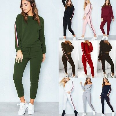 Womens 2PCS Casual Tracksuit Hoodies Sweatshirt Pants Set Lounge Wear Sport Suit