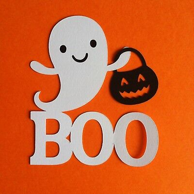 8. X Cute Ghost With Boo & Pumpkin Die Cut Shapes-Cardmaking-Halloween