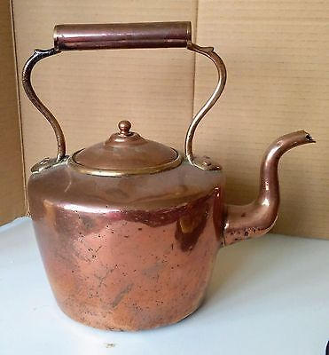 Large antique heavy copper and brass kettle