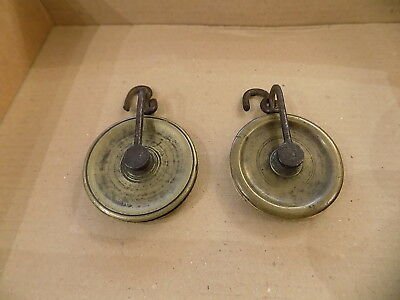 2 x ROPE Clock PULLEY SET brass  Longcase Grandfather antique  part spare 47 mm