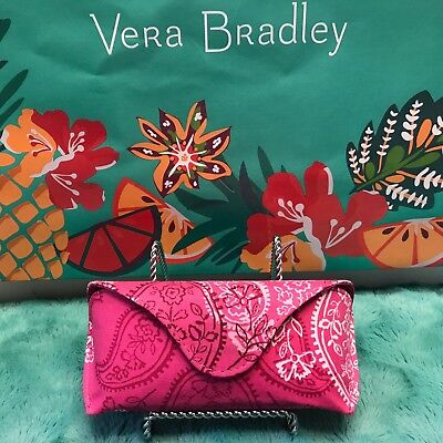 "Vera Bradley New Hard Eyeglass Case ""stamped Paisley"" Nwt"
