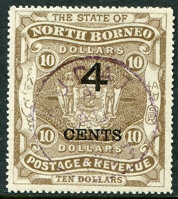 North Borneo 1899 4c/$10 wide surch. SG 126 used/CTO (cat. £18)