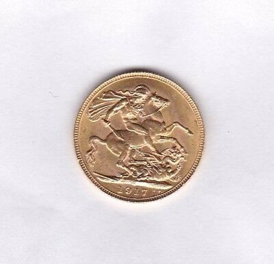 1917P Gold Full Sovereign In Extremely Fine Condition Perth Mint Mark