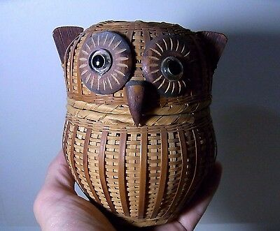 Owl Shaped Small Basket Container with Lid Japanese Vintage Wooden Crafted