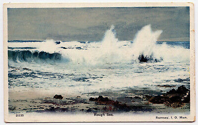 A Colour Printed P/card - Rough Sea, Ramsey, Isle Of Man.