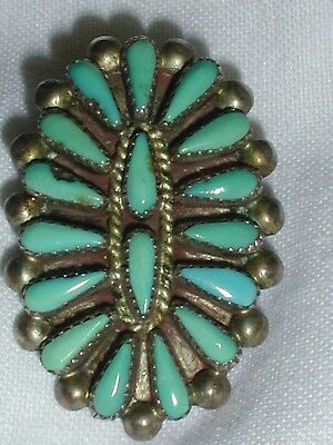 Stunning! Old Pawn Zuni Sterling Petit Point Brooch/ Pendant- Sgnd Wallace!
