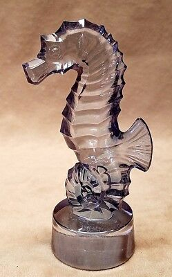 Lalique Crystal Seahorse Figurine Mint Condition Blue Luster Signed