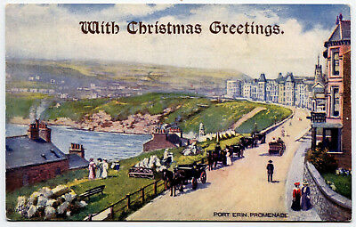 A Colour Printed,tuck's Christmas Greetings (Overprinted), P/card, Isle Of Man.