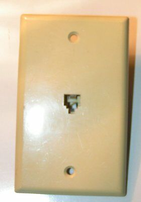 Vintage Leviton Off White Ivory Bakelite Telephone Wall outlet Jack Outlet Plate