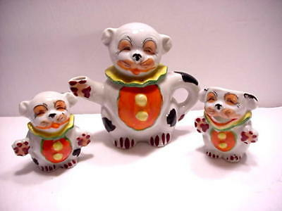 Vintage Japan Laughing Smiling Silly Dog Clown Childs Teapot Creamer & Sugar