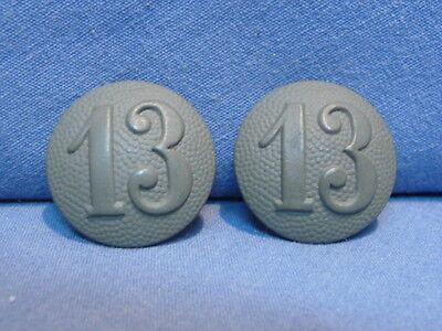 Original WWII Era German Shoulder Strap Buttons Pair WITH 13th Company Numbers!