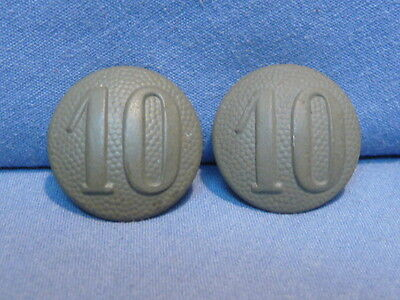 Original WWII Era German Shoulder Strap Buttons Pair WITH 10th Company Numbers!