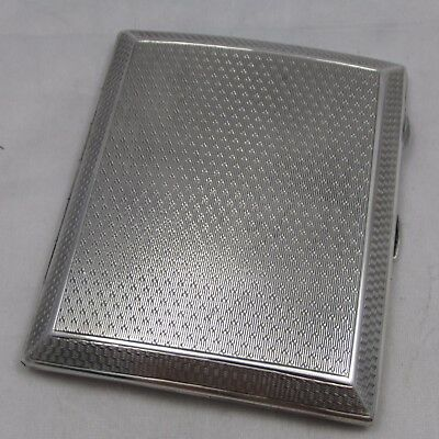Good Vintage Art Deco Solid Silver Cigarette Case Engine Turned Decoration 1925