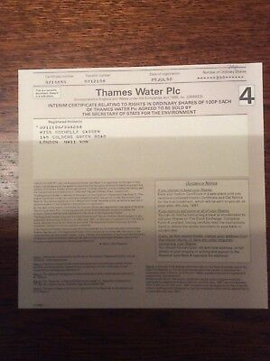 Thames Water Plc Dated 1990 300 Shares Invalid Share Certificate