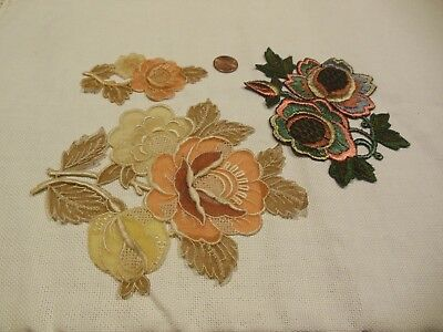Antique Silk Embroidered Sewing Appliques Embellishments