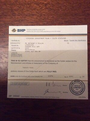 B H P Dated 1990 25 Shares Invalid Share Certificate