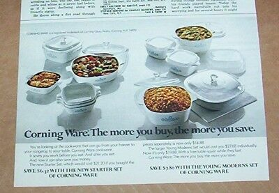 1972 print ad - Corning Ware cookware Glass Works New York vintage advertising