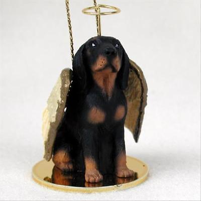 Coonhound Black Tan Dog ANGEL Tiny One Ornament Figurine Statue