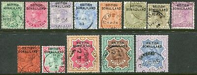 Somaliland 1903 (1 June) overprinted on India QV ½a-5r SG 1-13 used (cat. £190)