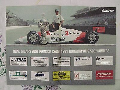 Rick Mears Indycar Indianapolis 500 winner 1991 Centrefold