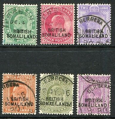Somaliland 1903 (1 Sept.) overprinted on India ½a-8a SG 25-30 used (cat. £7.85)